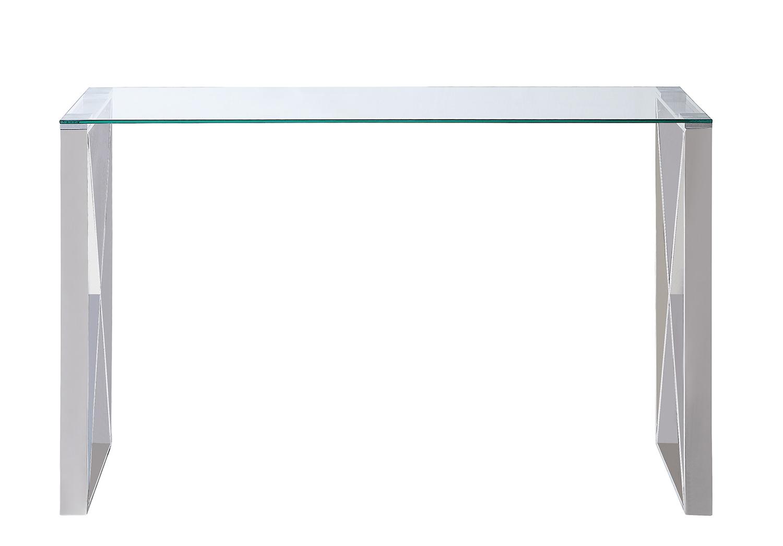 Homelegance Rush Sofa Table with Glass Top - Polished Chrome