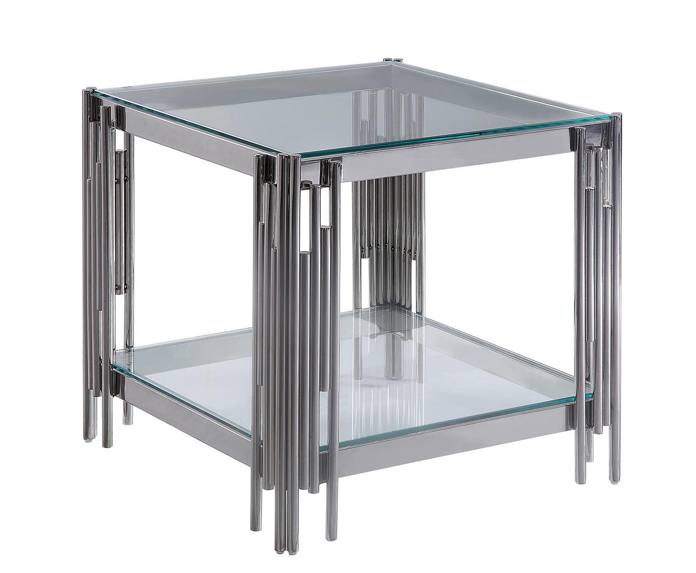 Homelegance Porfirio End Table with Glass Top