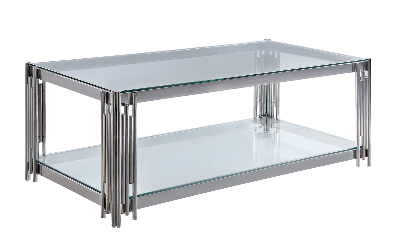 Homelegance Porfirio Cocktail Table with Glass Top