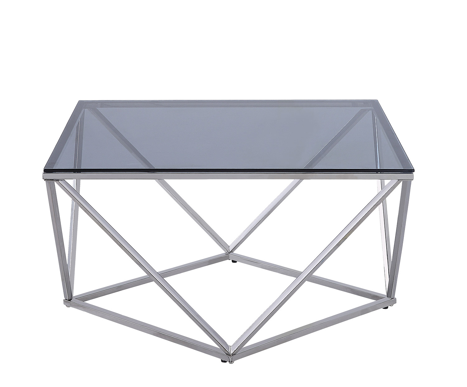 Homelegance Rex Cocktail Table with Gray Glass Insert - Silver