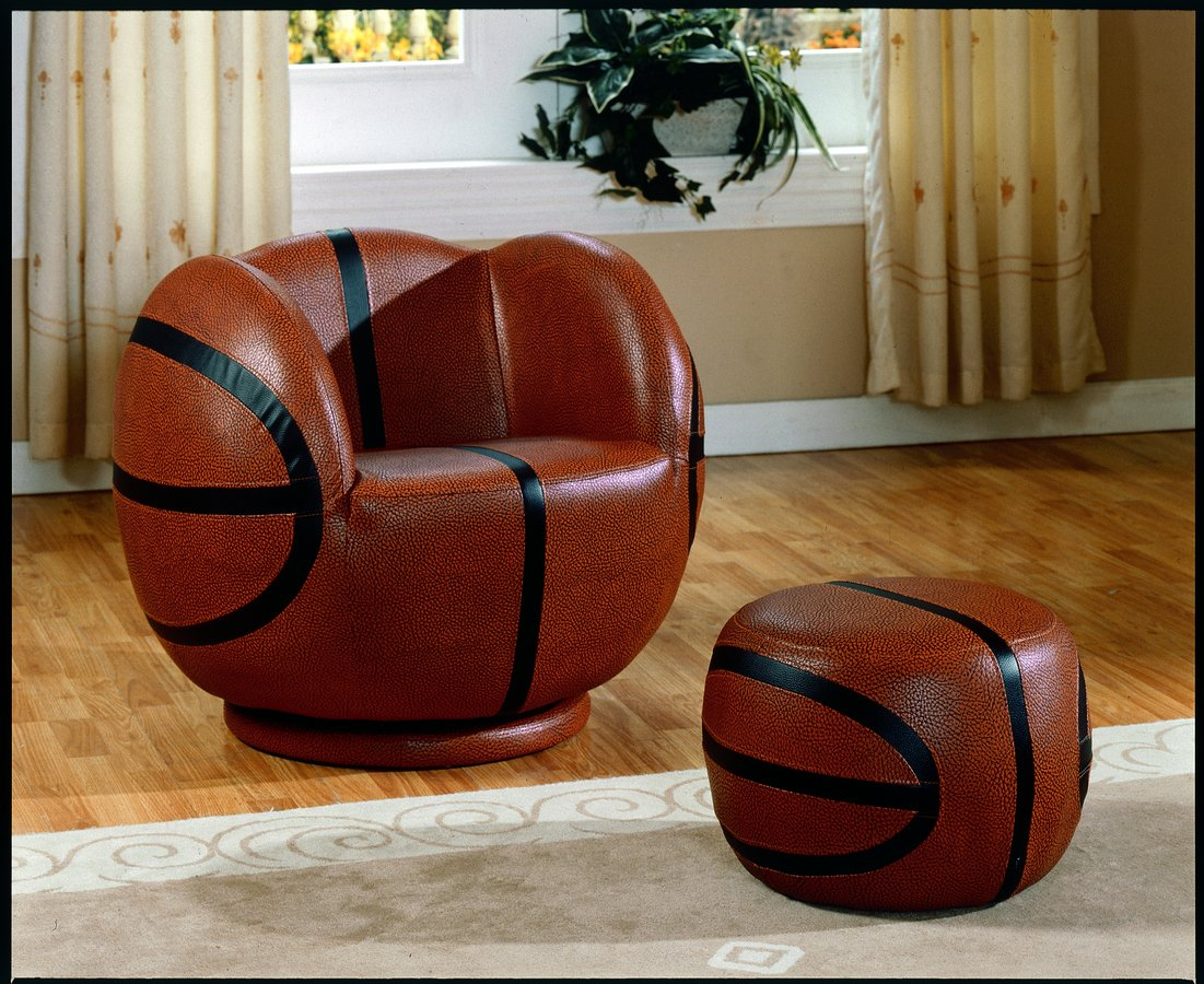 Homelegance Sports Swivel Chair and Ottoman Basketball