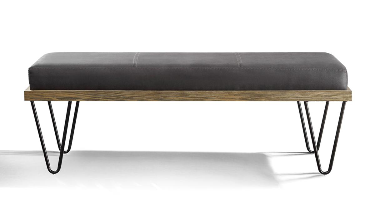 Homelegance Metallo Bench - Wood Frame - Dark Metal Legs