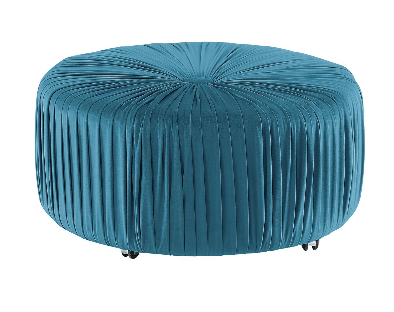 Homelegance Jaunt Round Ottoman - Blue