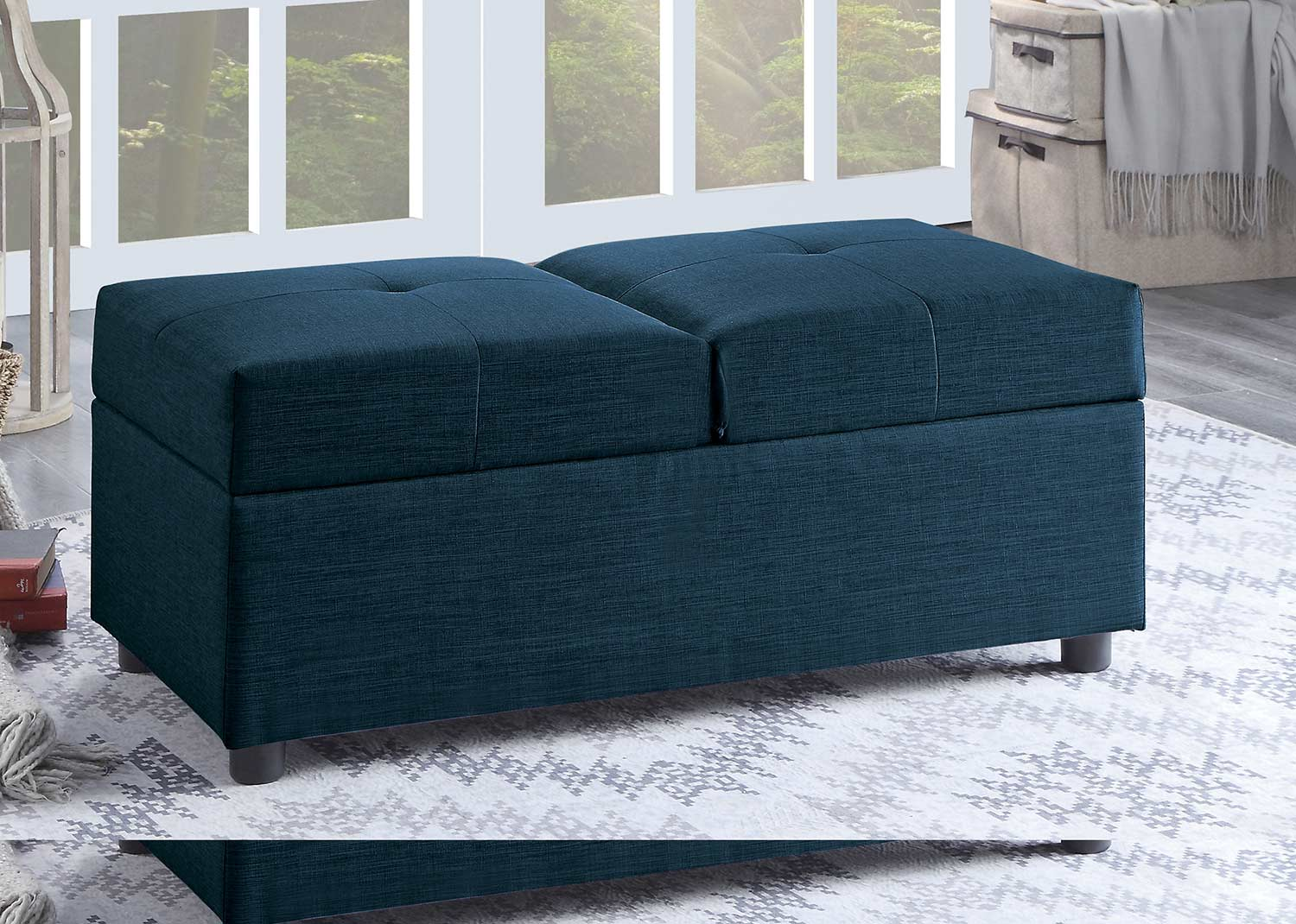 Homelegance Denby Storage Ottoman/Chair - Blue