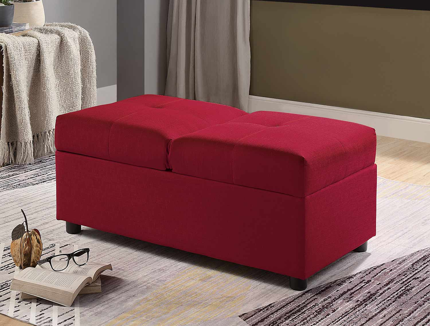 Homelegance Denby Storage Ottoman/Chair - Red