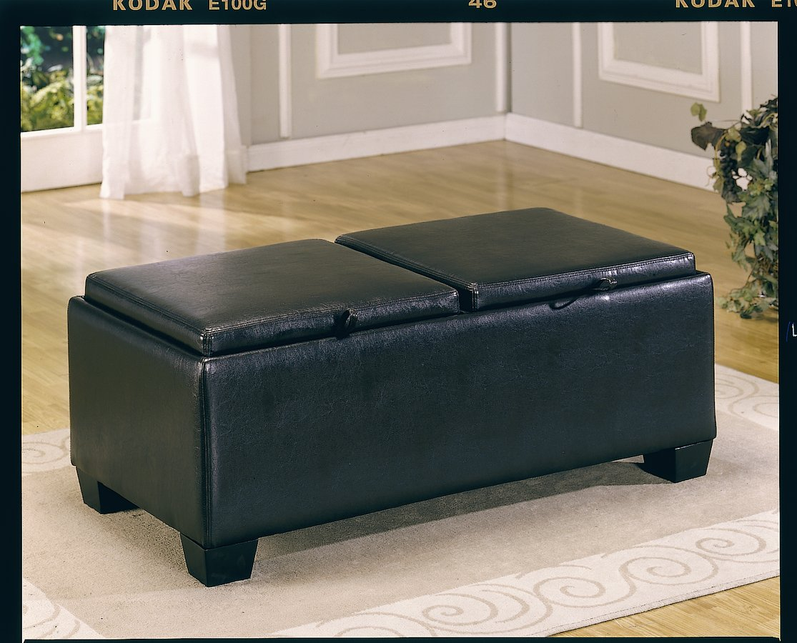 Vega Leather Match Ottoman with 2 Storages-Homelegance