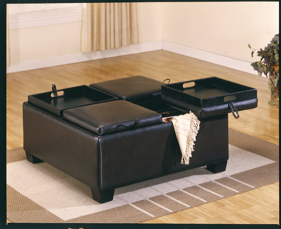 Homelegance Vega Leather Match Ottoman with 4 Storages