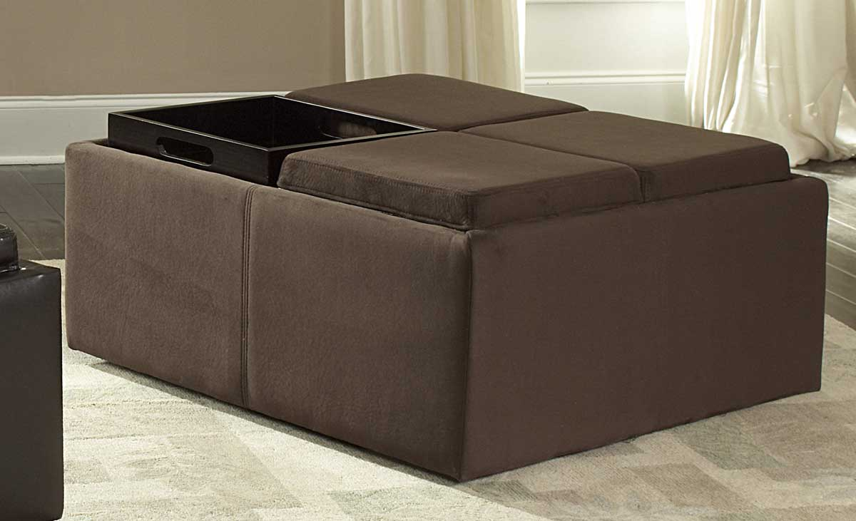 Cheap Homelegance Kaitlyn Cocktail Ottoman in Microfiber
