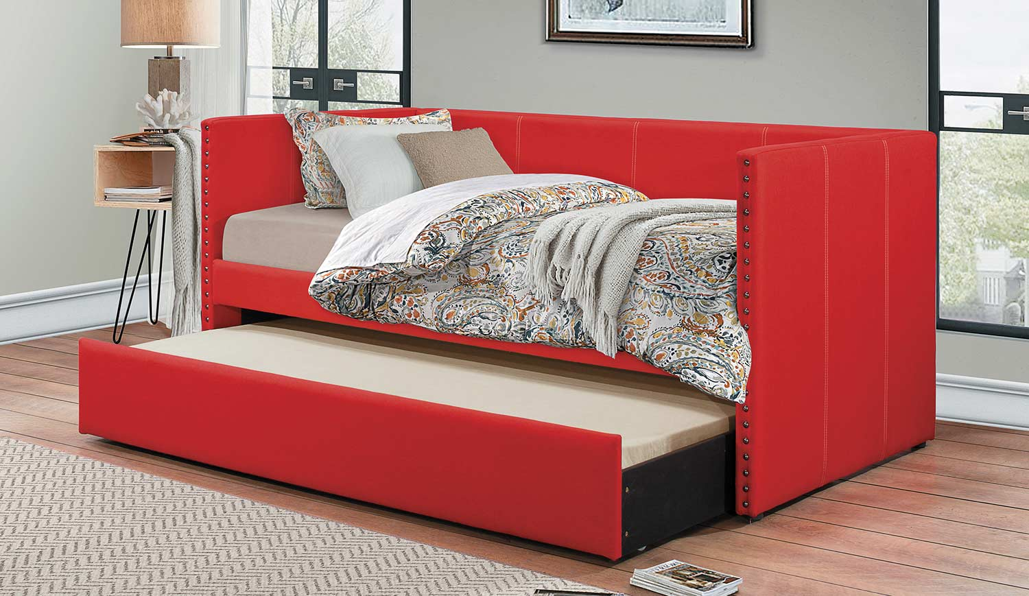 Homelegance Therese Daybed with Trundle - Red
