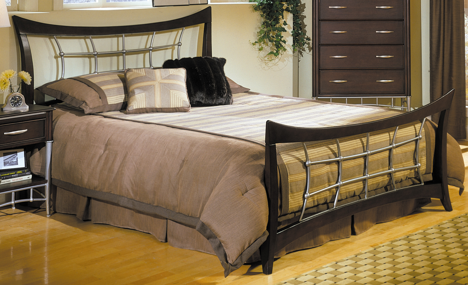 Homelegance Moda Bed with Wood Rails