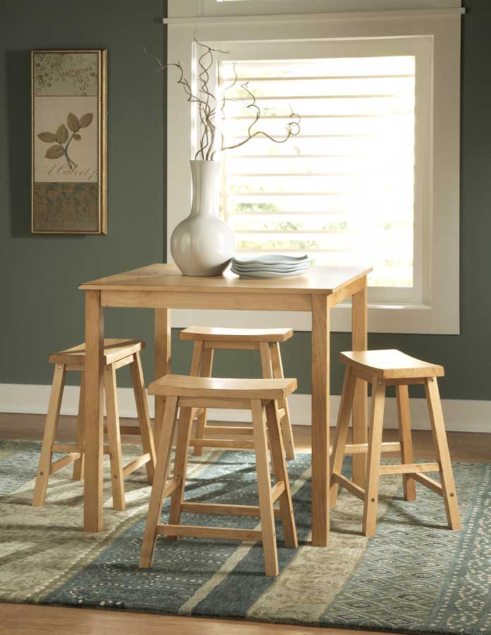 Homelegance Saddleback 5 Pc Dinette Set in Pine Finish