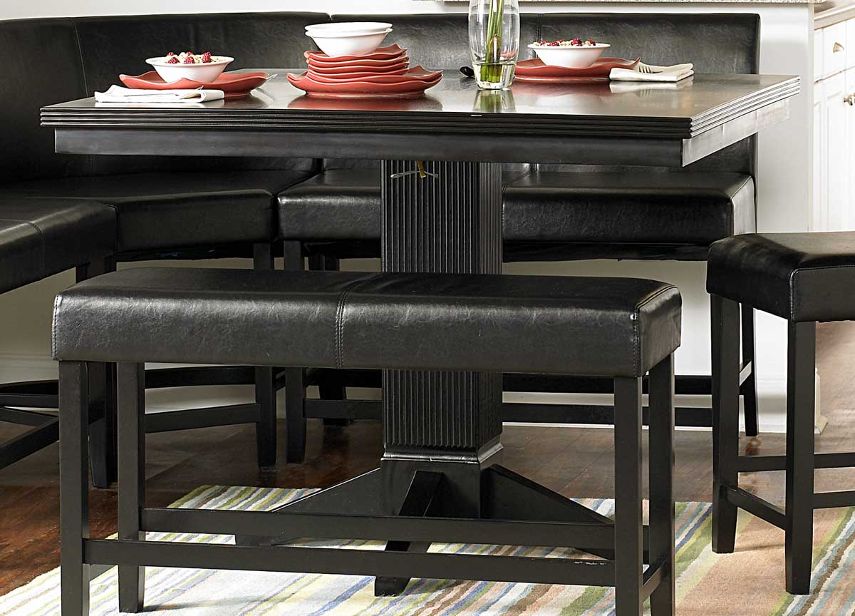 black finished counter height nook set provides the style and function
