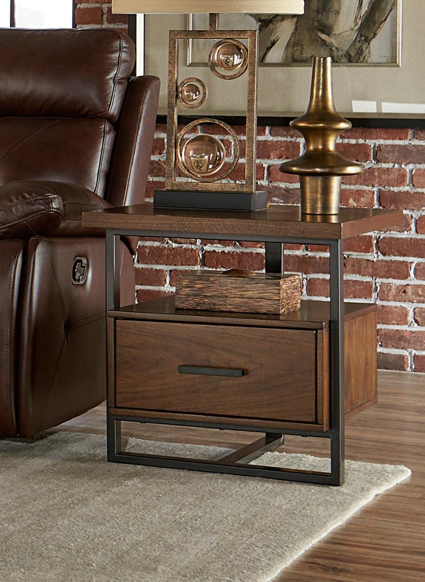 Homelegance Sedley End Table with Functional Drawer - Walnut Veneer