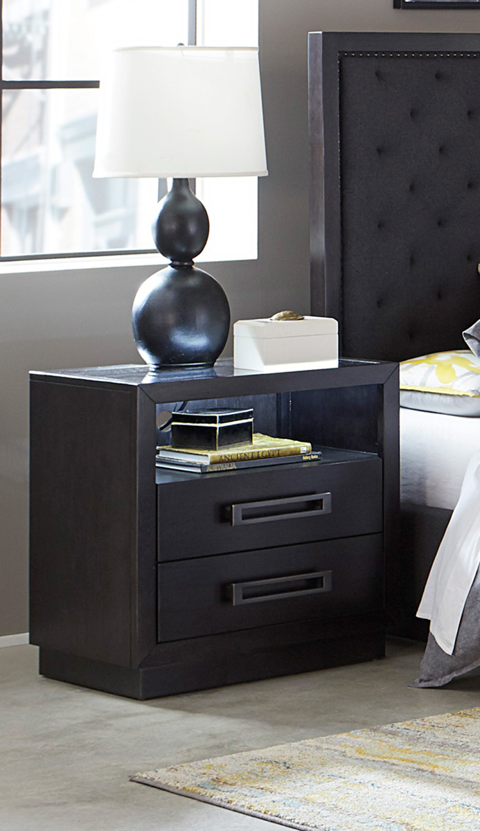 Homelegance Larchmont Night Stand with LED Lighting - Charcoal Finish over Ash Veneer