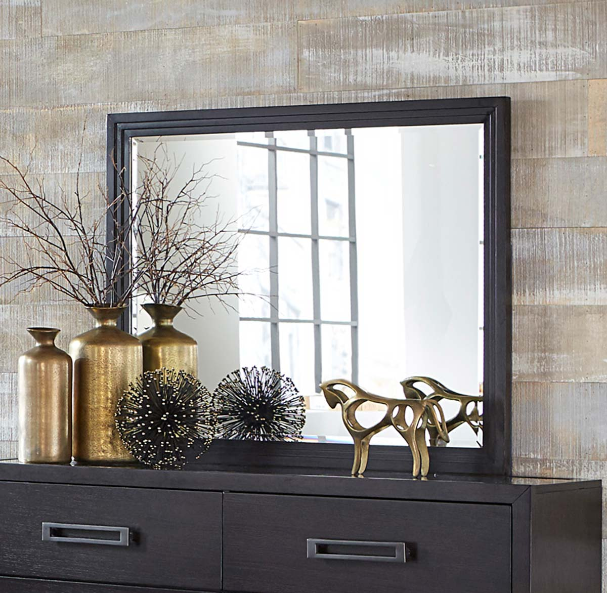 Homelegance Larchmont Mirror - Charcoal Finish over Ash Veneer