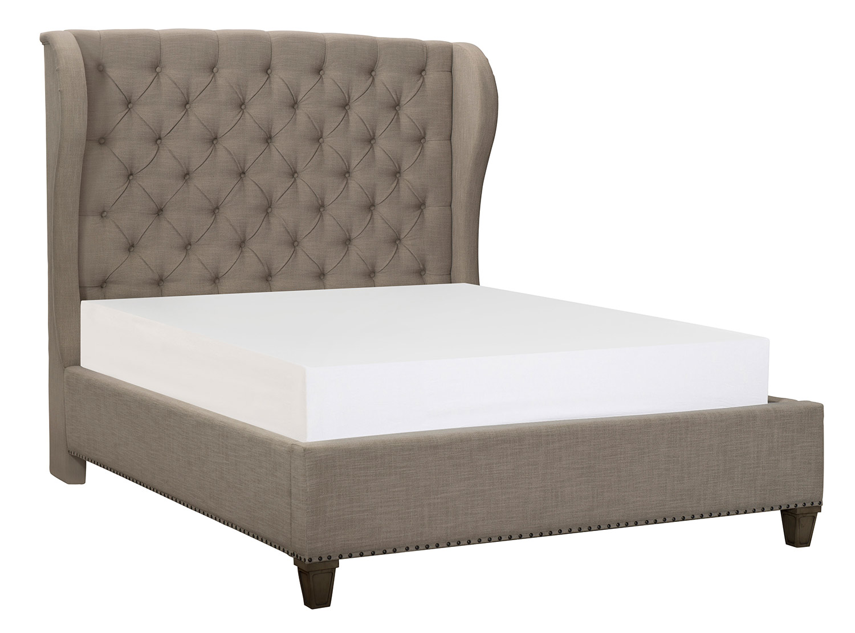 Homelegance Vermillion Upholstered Bed - Bisque Finish with Oak Veneer