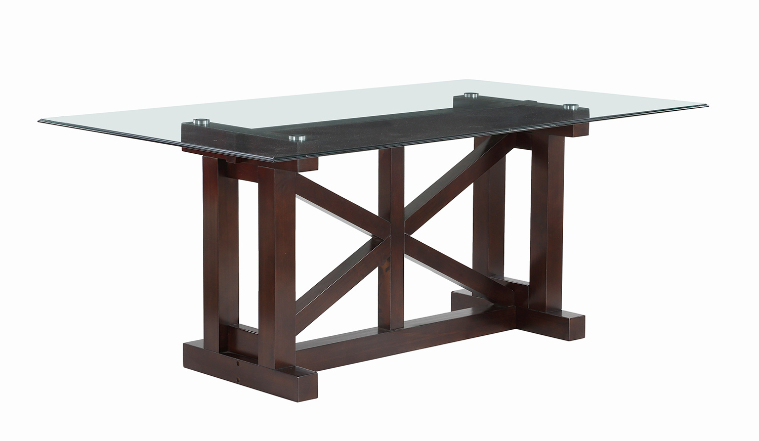 Homelegance Salema Glass Top Dining Table - Dark Brown