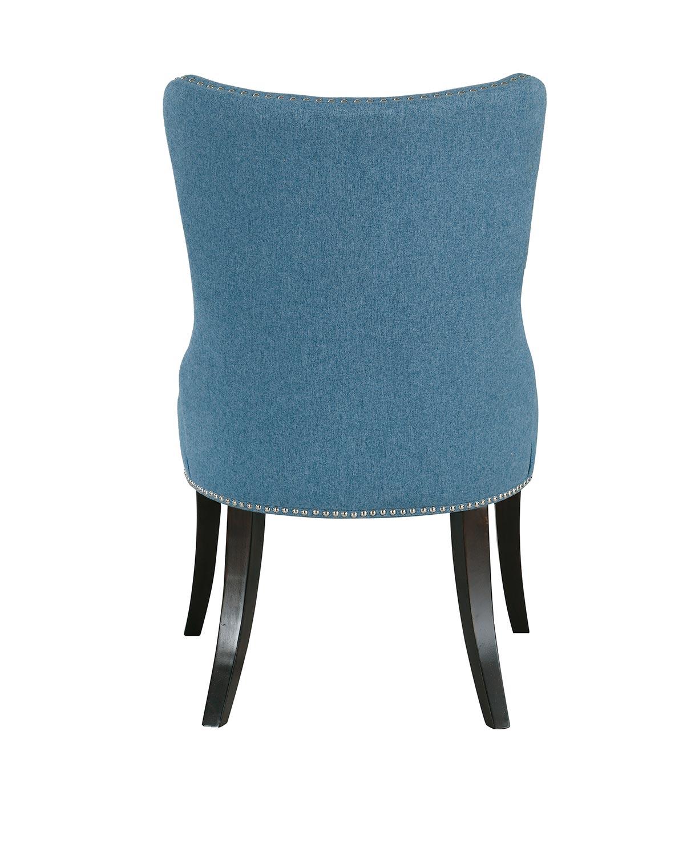 Homelegance Salema Side Chair - Blue - Dark Brown