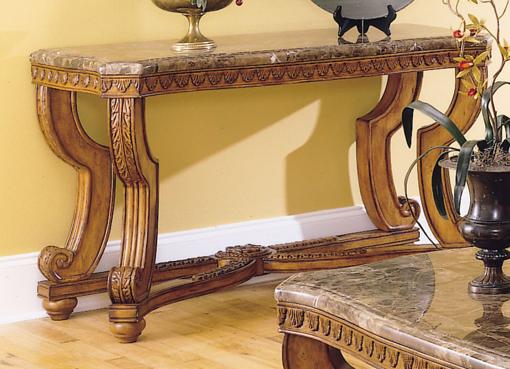 Homelegance Tarantula Sofa Table Marble Top