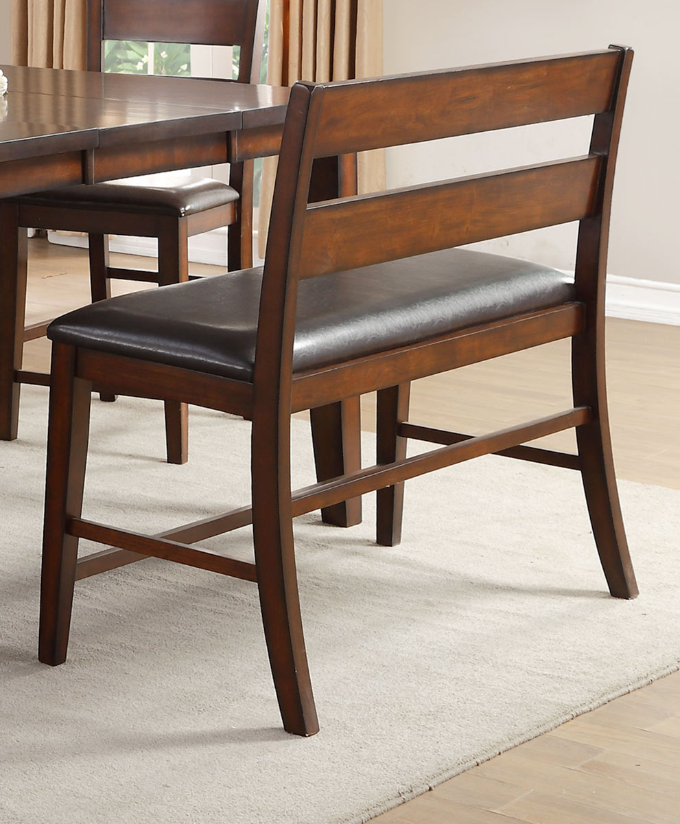 Homelegance Mantello Counter Height Bench with Back - Cherry