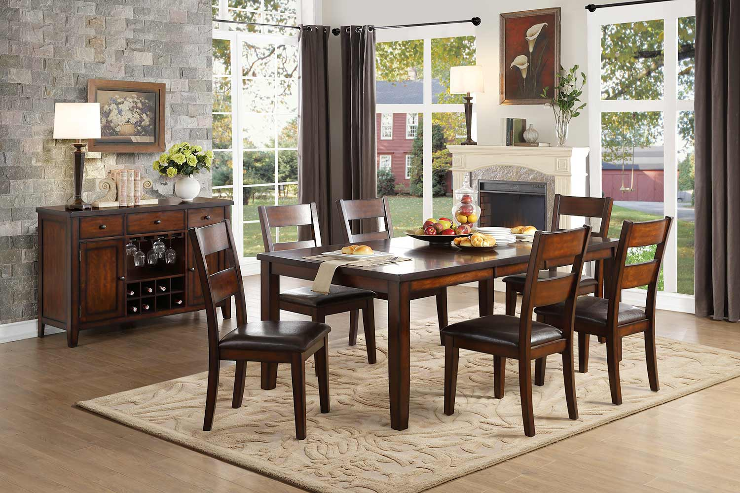 Homelegance Mantello Dining Set - Cherry - Dark Brown Bi-Cast Vinyl