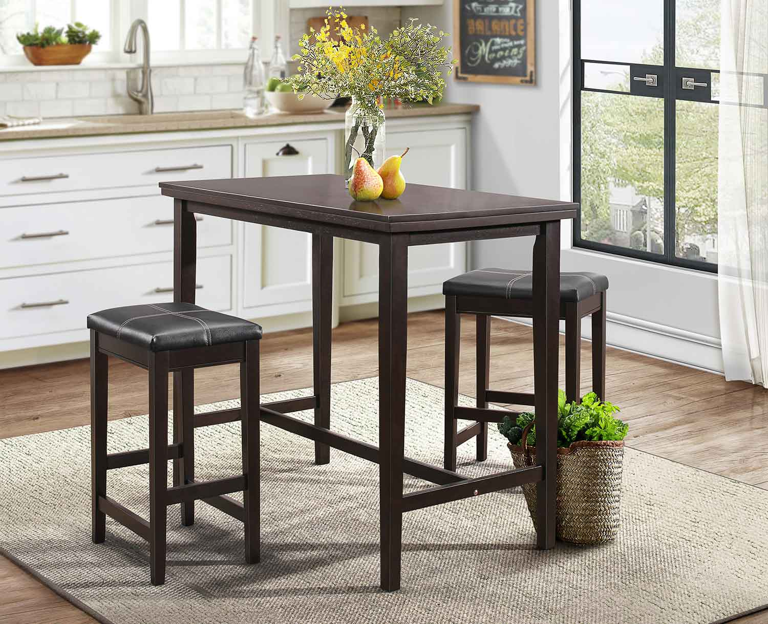 Homelegance Tirel 3-Piece Pack Counter Height Set - Dark Brown - Dark Brown Bi-Cast Vinyl