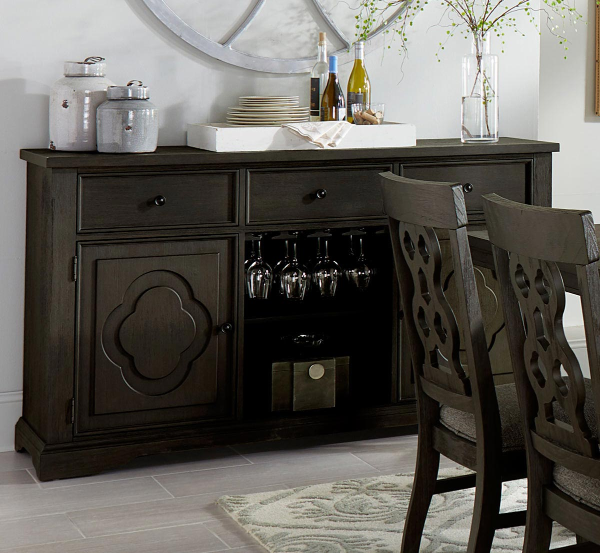 Homelegance Arasina Server - Dark Pewter
