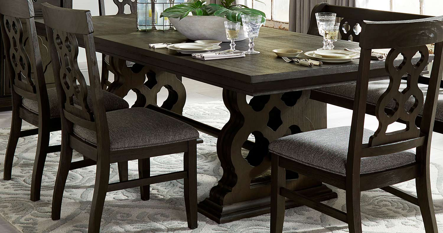 Homelegance Arasina Dining Table - Dark Pewter