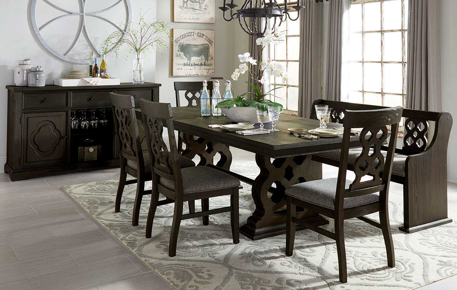 Homelegance Arasina Dining Set - Dark Pewter