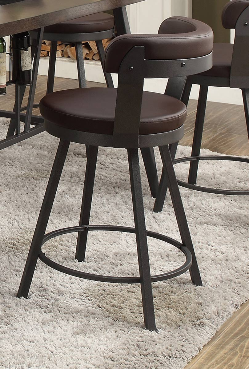 Homelegance Appert Swivel Counter Height Chair - Brown - Black Bi-Cast Vinyl