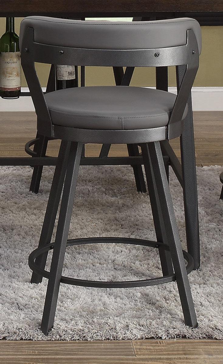 Homelegance Appert Swivel Pub Height Chair - Grey - Black Bi-Cast Vinyl
