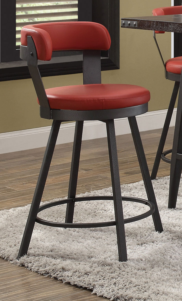 Homelegance Appert Swivel Pub Height Chair - Red - Black Bi-Cast Vinyl