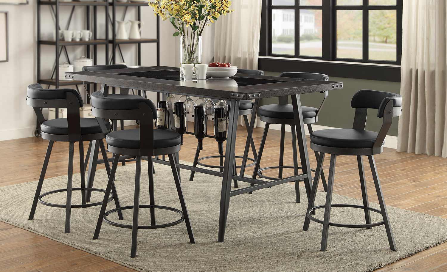 Homelegance Appert Counter Height Dining Set Black Black Bi Cast Vinyl 5566 Bk Din