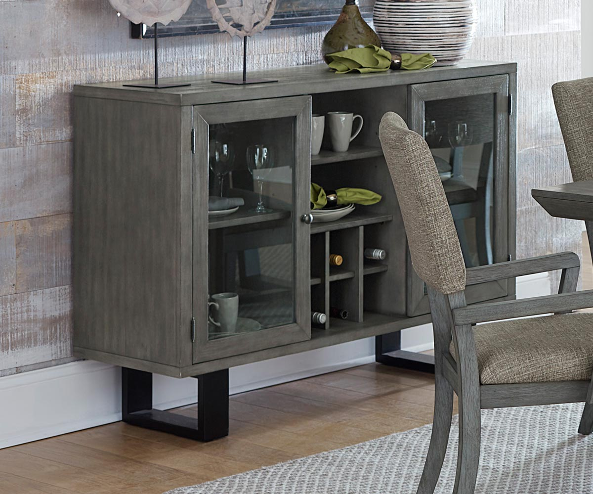 Homelegance Avenhorn Server With Glass Door - Gray