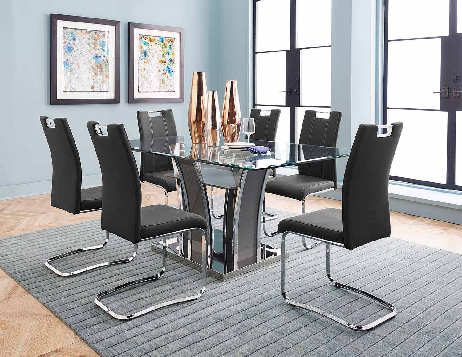 Homelegance Betmar Dining Set   Chrome And Grey   Grey Bi Cast Vinyl