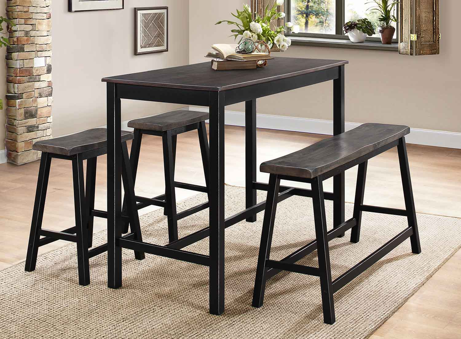 Homelegance Visby 4-Piece Pack Counter Height Set - Brown