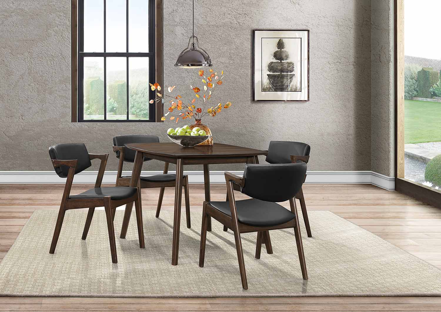 Homelegance Coel Dining Set - Dark Ash Venner - Black Bi-Cast Vinyl