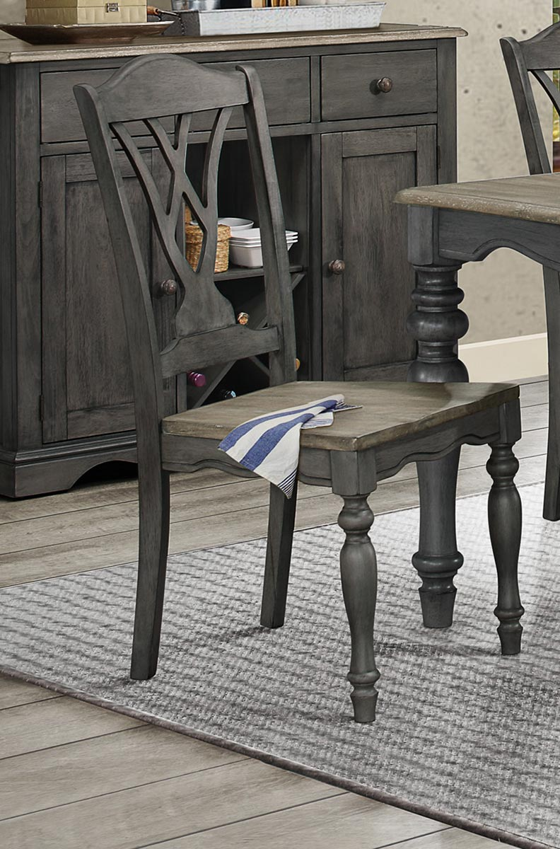 Homelegance Hyacinth Side Chair - Oak Wash and Gray