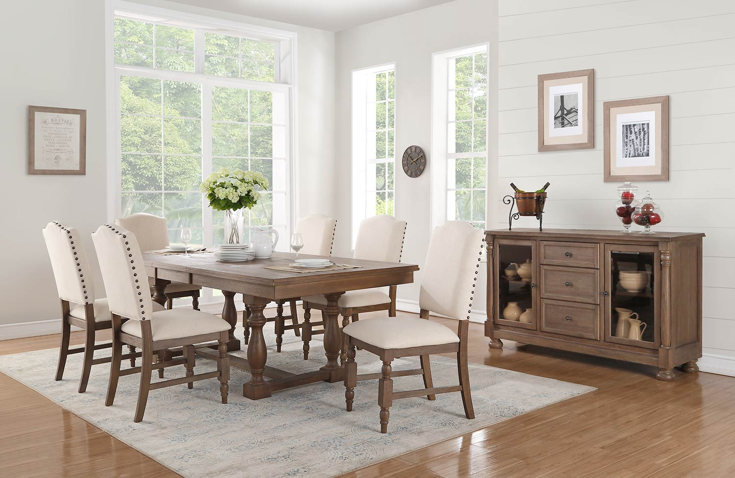 Homelegance Chartreaux Dining Set - Natural Taupe - Oak veneer