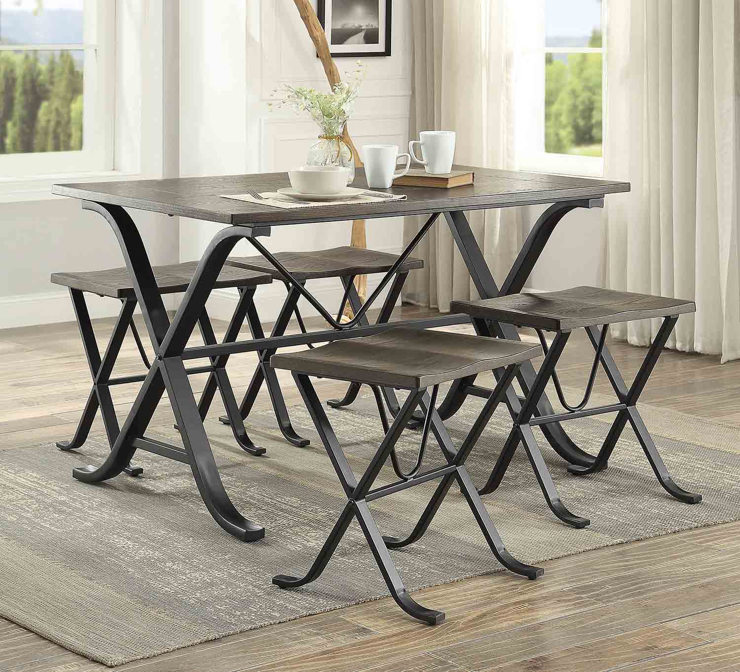 Homelegance Westerlyn 5-Piece Dining Set - Burnished - Black Metal