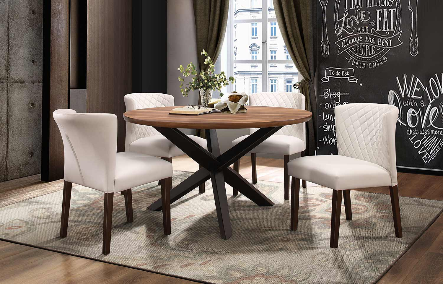 Homelegance Nelina Round Dining Set - Espresso-Natural