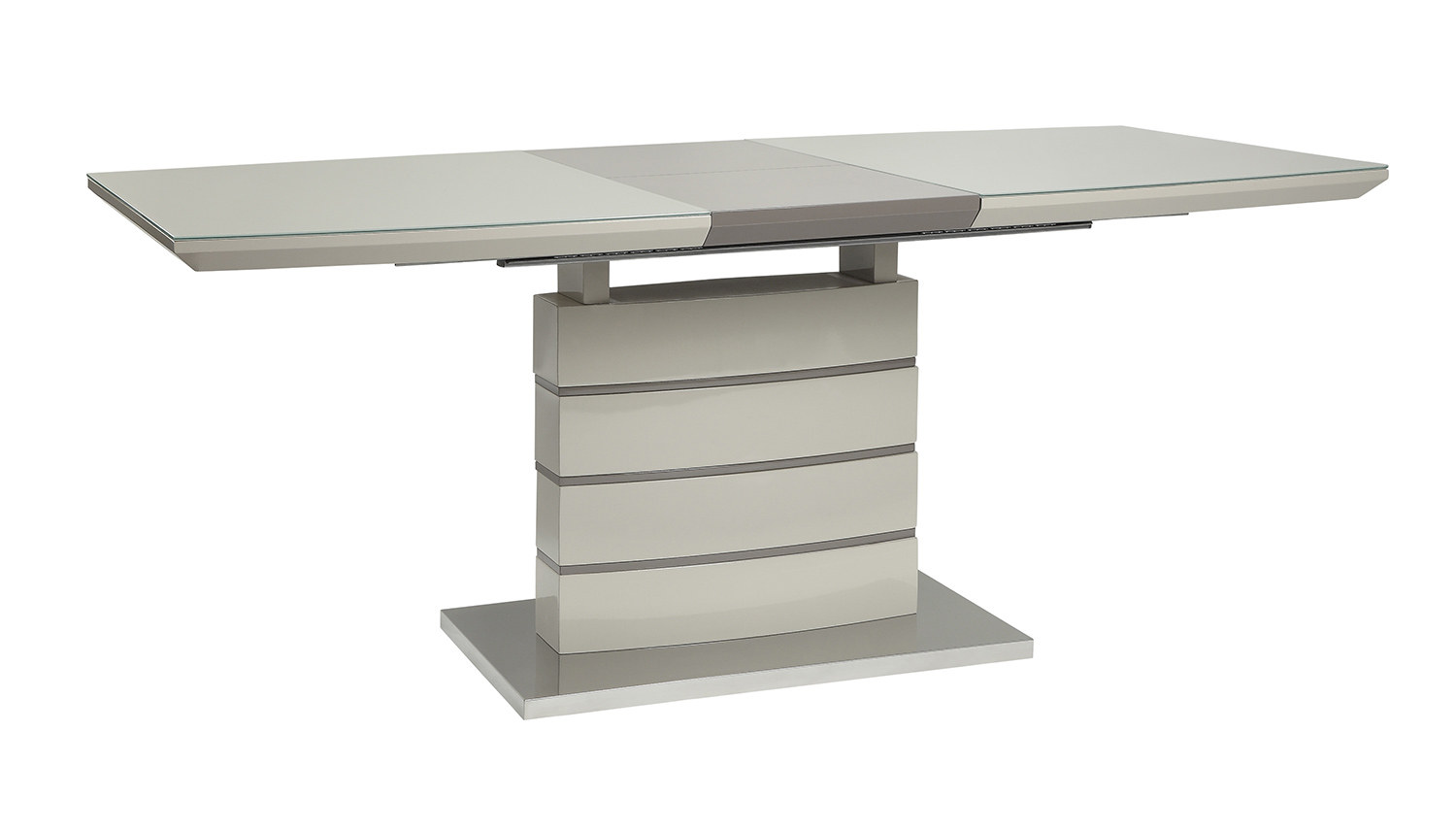 Homelegance Glissand Dining Table - Glossy - Grey-Taupe Bi-Cast Vinyl