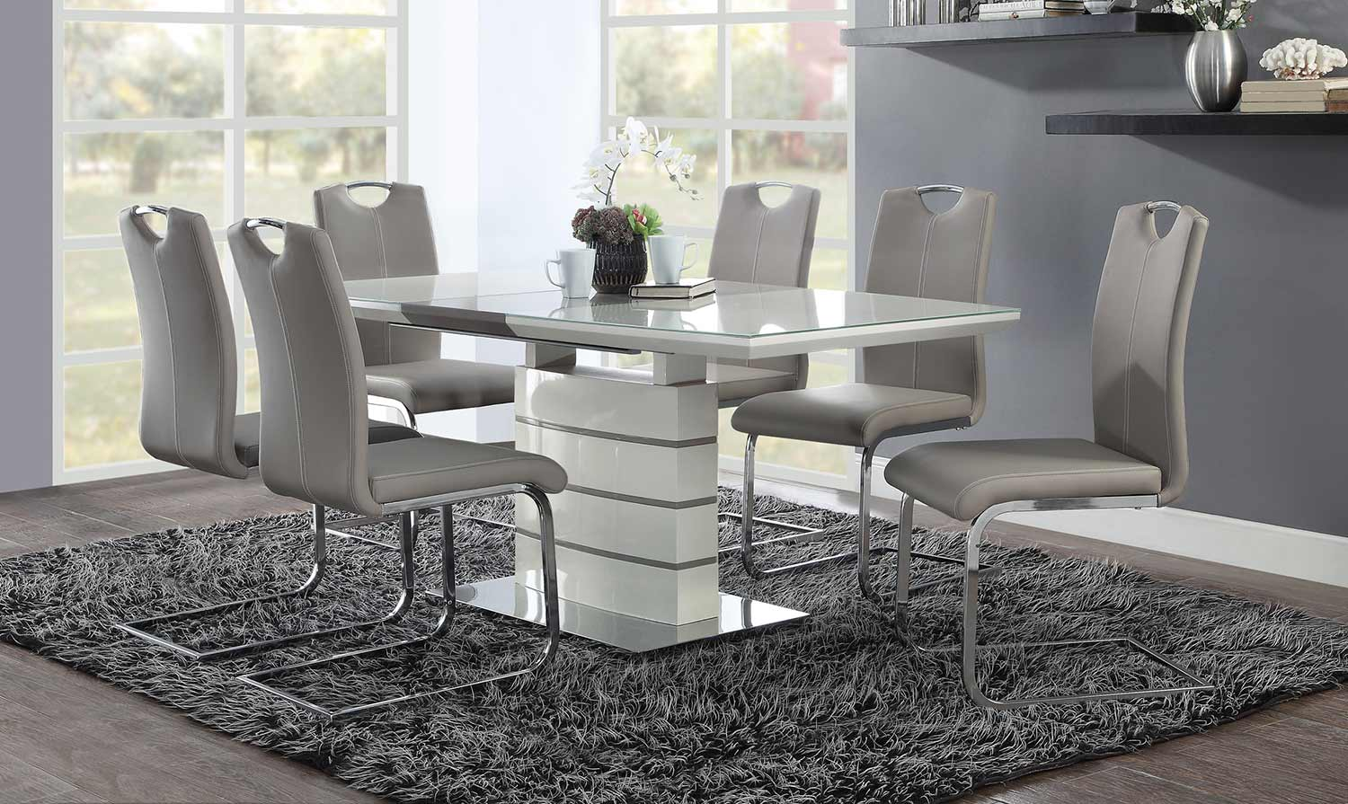 Homelegance Glissand Dining Set - Glossy - Grey-Taupe Bi-Cast Vinyl