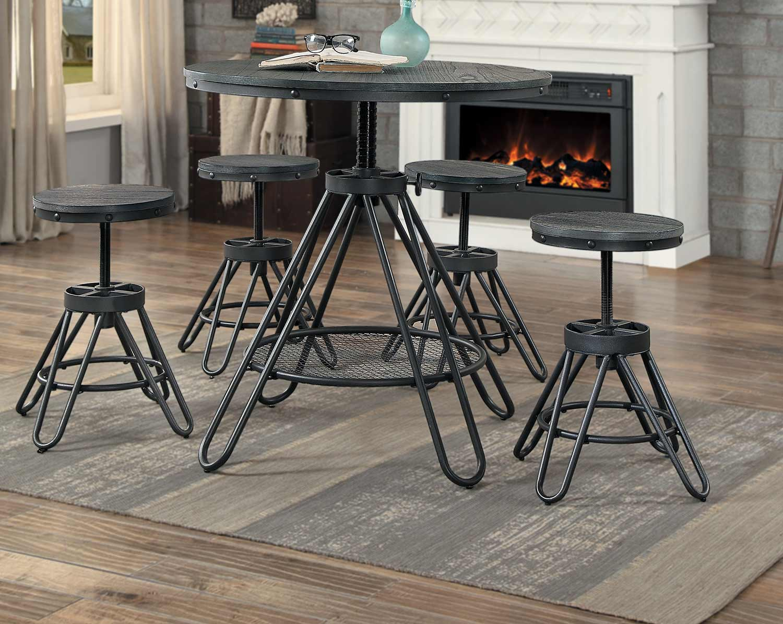 Homelegance Cirrus Adjustable Round Dining Set - Weathered Gray