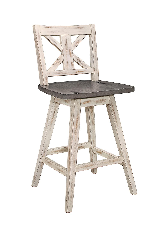 Homelegance Amsonia Swivel Counter Height Chair - White Sandthrough