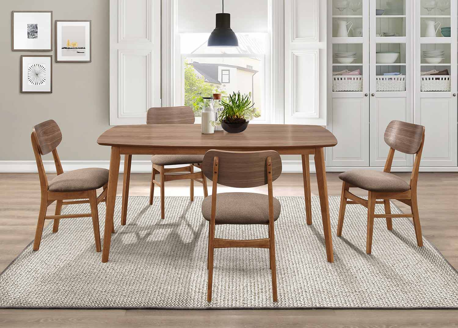 Homelegance Paran Dining Set - Natural Walnut
