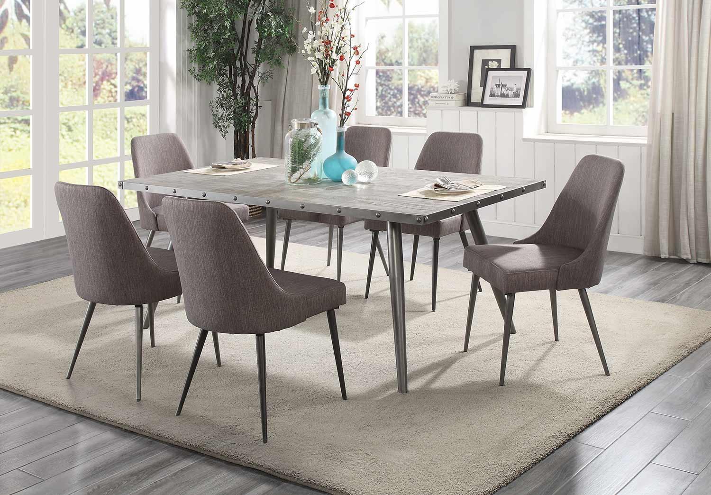 Homelegance Palladium Dining Set - Elm Solid - Grey Powder Coated Metal