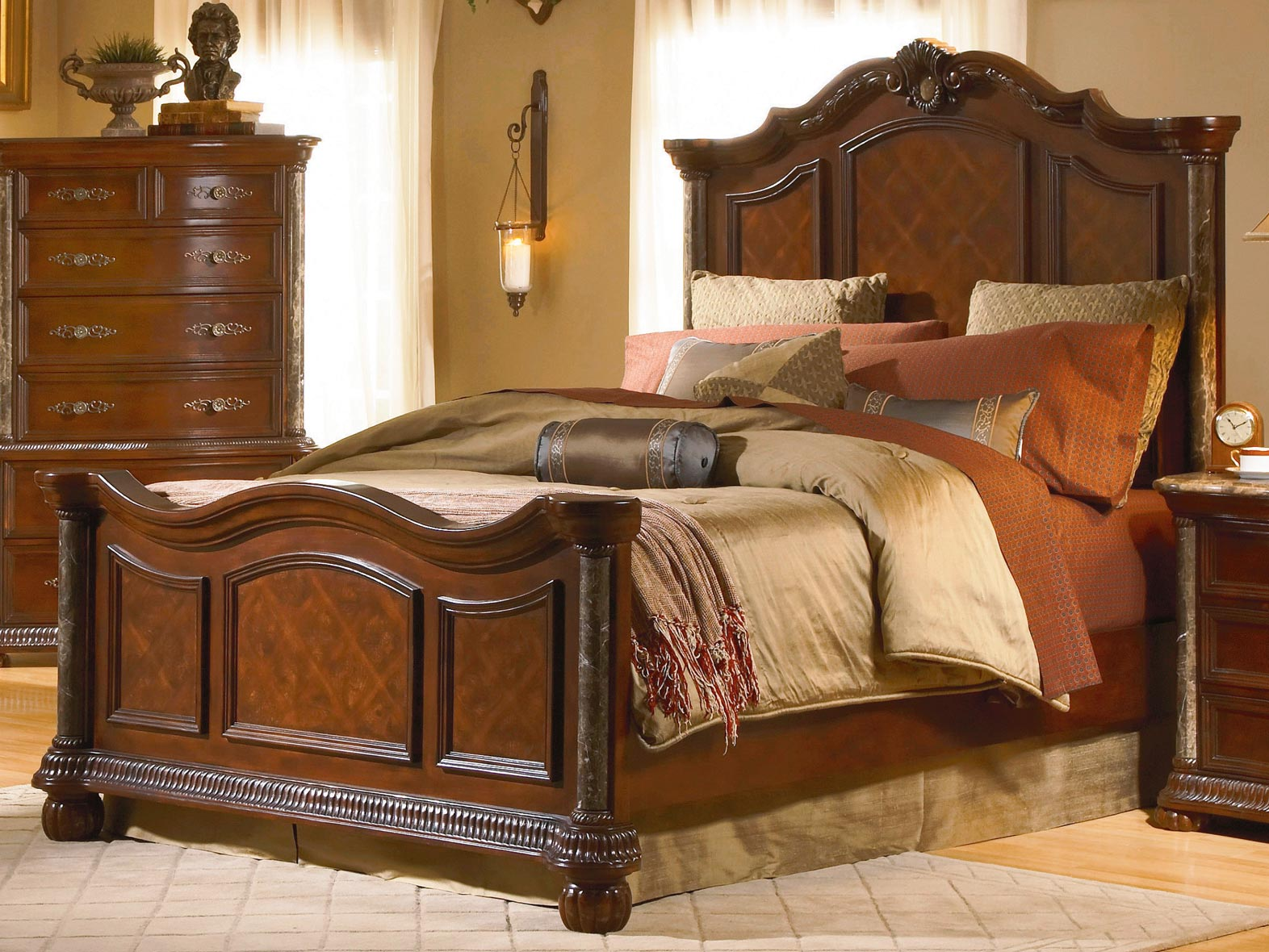 Homelegance Catalina Panel Bed with Marble Pilaster