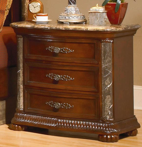 Homelegance Catalina Night Stand Marble Top and Pilaster