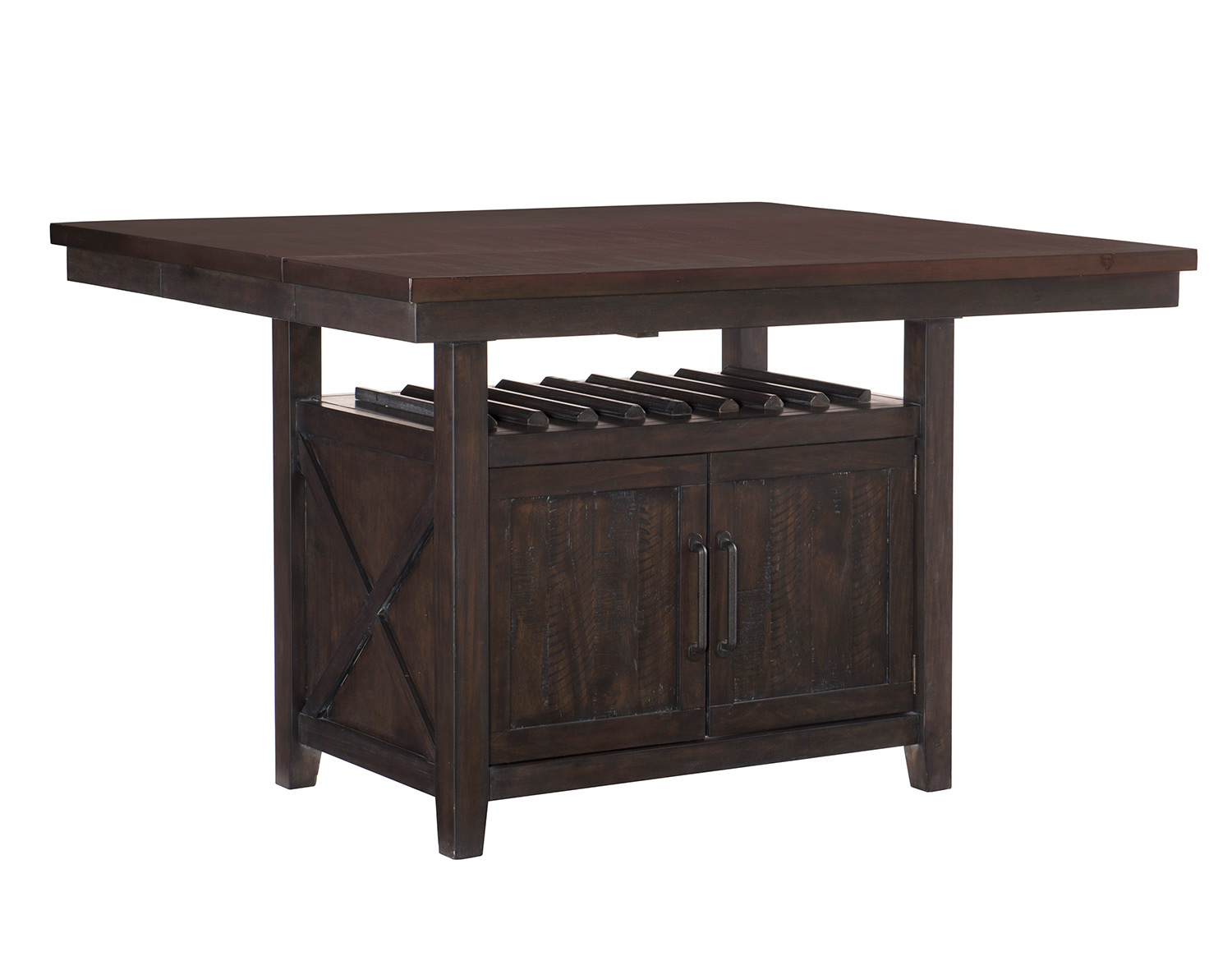 Homelegance Oxton Counter Height Table with Storage Base - Rustic Brown